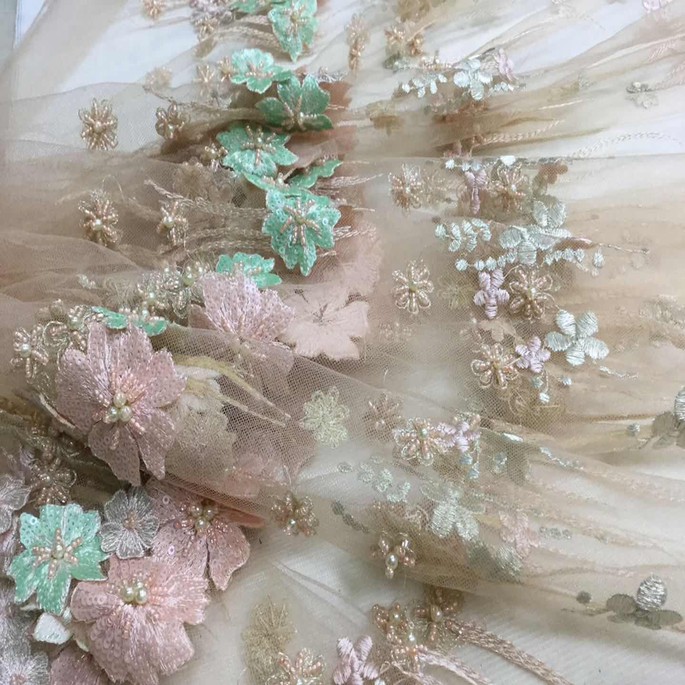Embroidered Netting Fabric Beaded