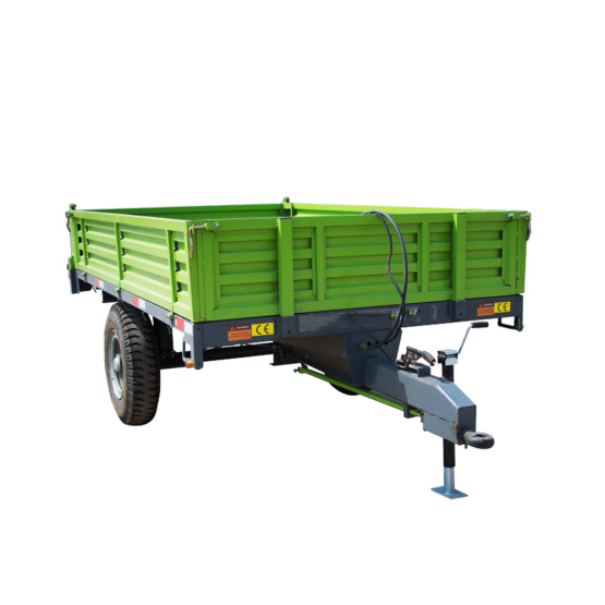 Farm transporting hydraulic single axle tipping dump trailer