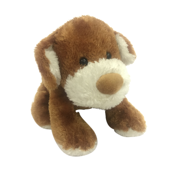 Crouching Brown Plush Dog Toy