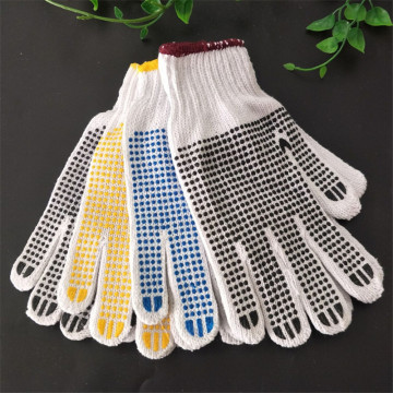 Cotton Both Sides Pvc Dotted Working Safety Glove