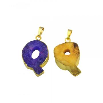 Natural Druzy Crystal Alphabet Letter Q Pendant Plated Gold