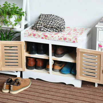 Wooden Ottomans shoe storage cabinet for shoe change, living room cabinet footstool
