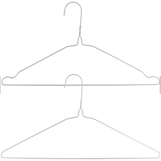 Disposable powder coated laundry white wire hanger