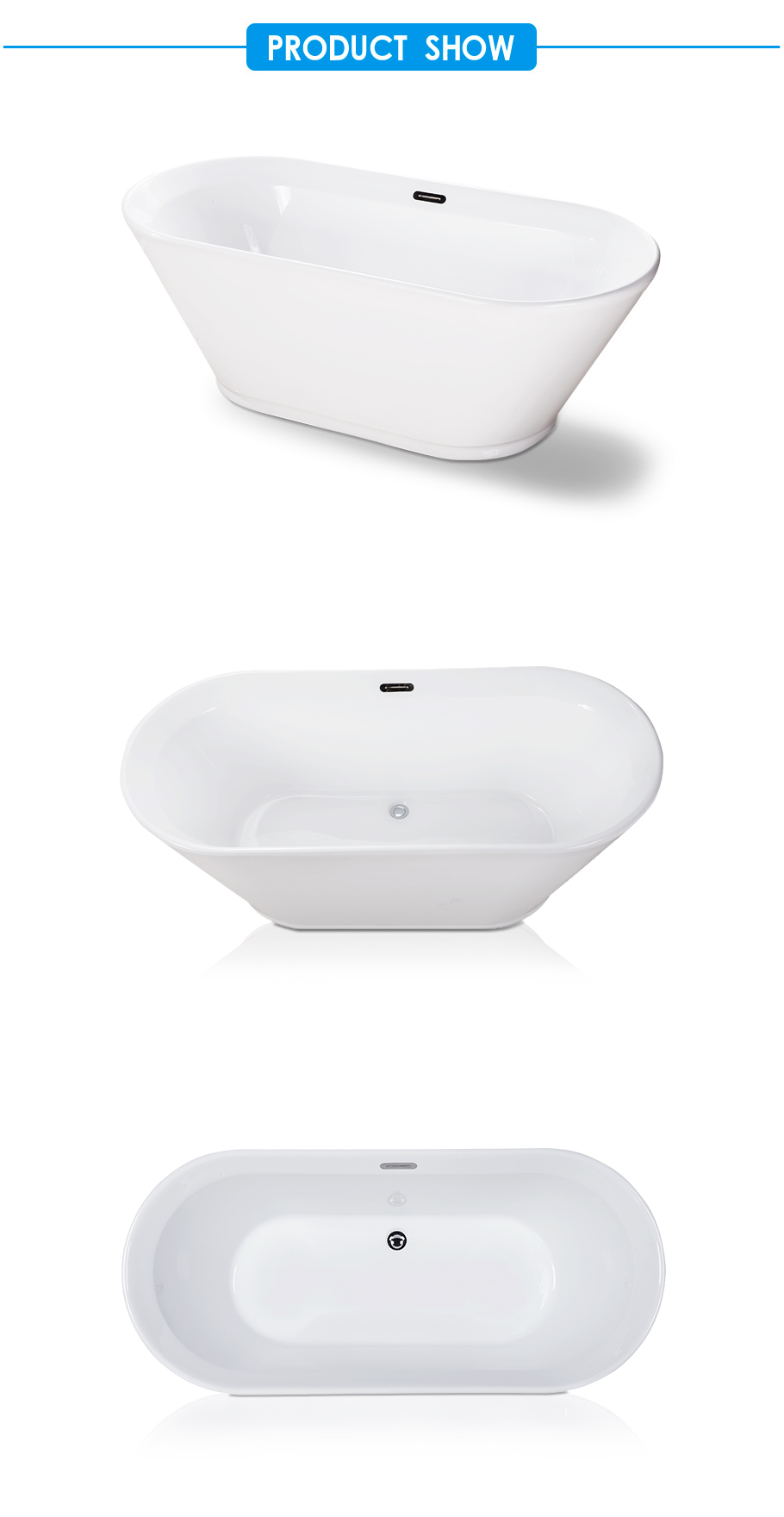 Acrylic Oval Double Ended Freestanding Bathtub