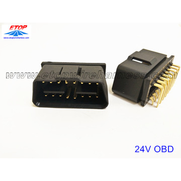 J1962 OBD 24V-12V connector with right-angel pin