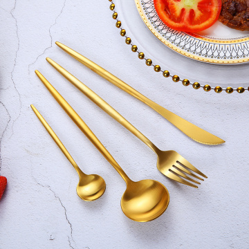 Wholesale silver gold spoon fork flatware set