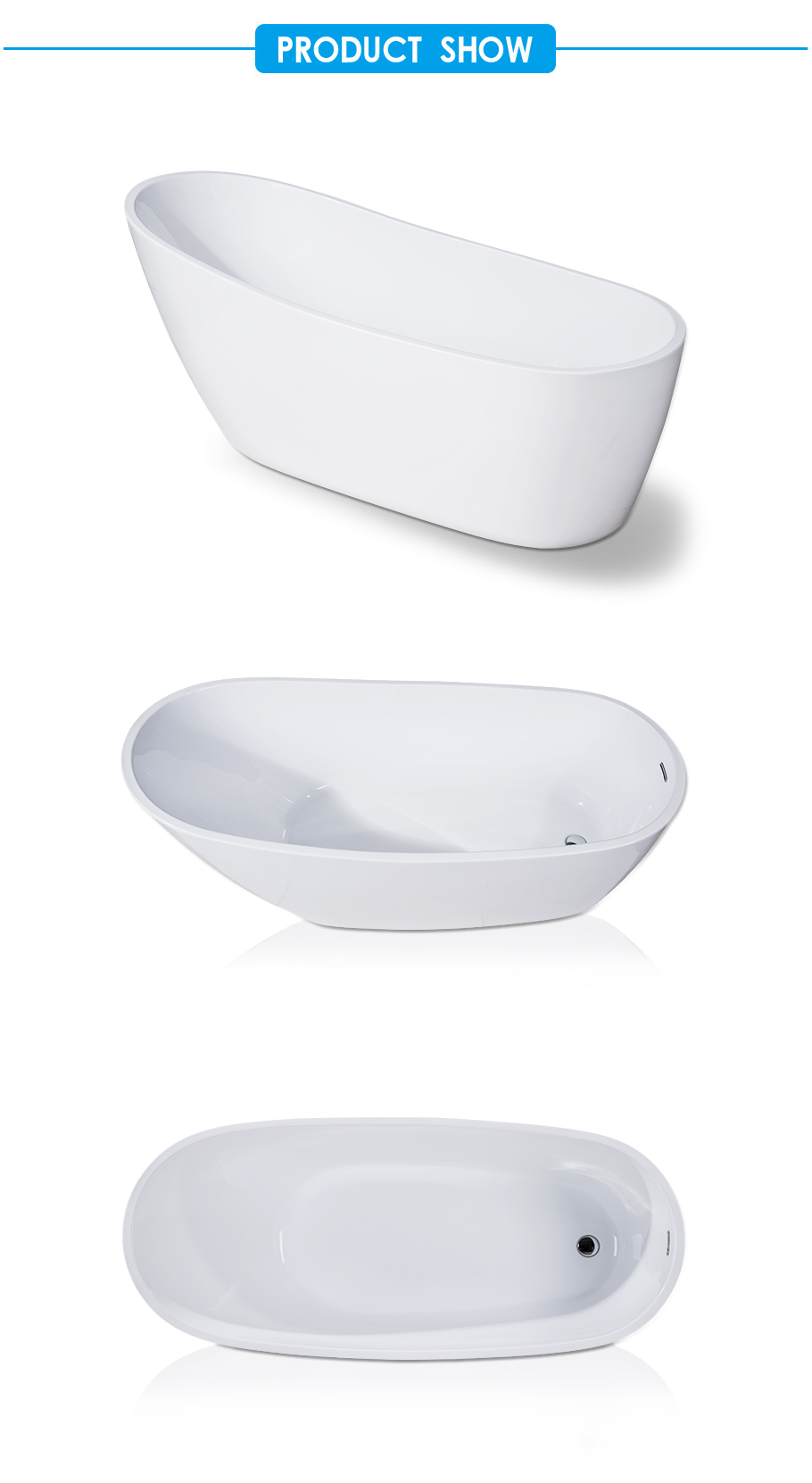 Florence Classic White Acrylic Slipper Flat bottom Bathtub
