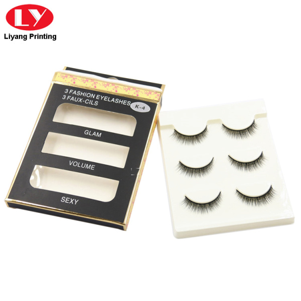 Packaging box for eyelash with hanging hole