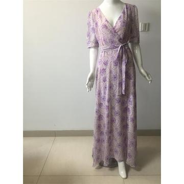 printed chiffon dress in color purple
