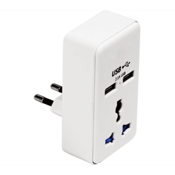 Portable travel adapter with two USB ports