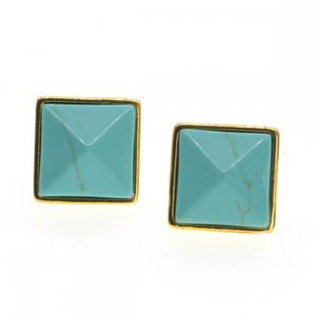 Natural Craved Pyramid Turquoise Stud Earrings