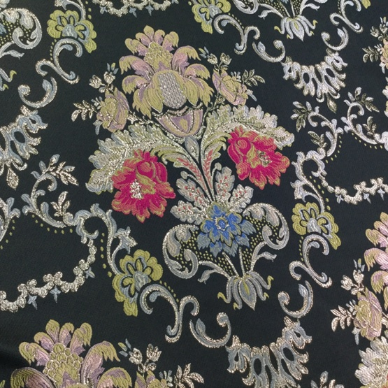 Black Flower Jacquard Brocaed Fabric for Cloth