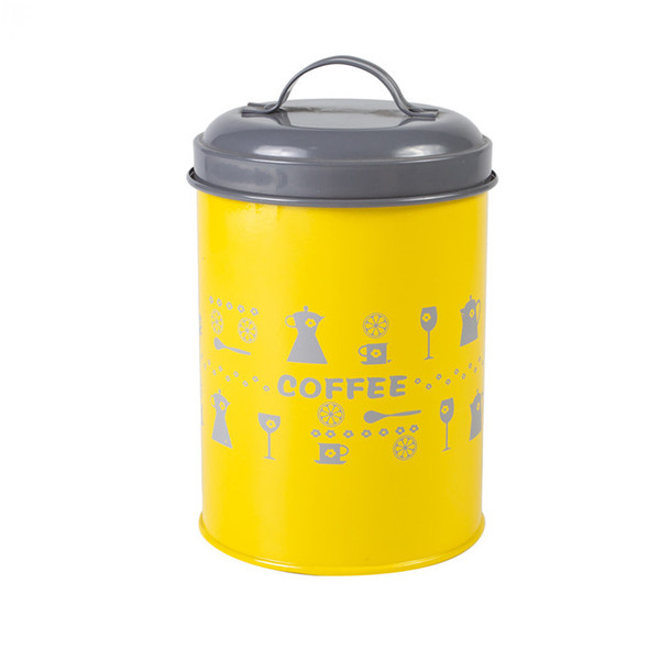 Metal kitchen canister set 3 yellow