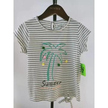 fashion printed stripe summer girls blouse top