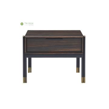 Dark Wenge Night Stand with Metal Legs