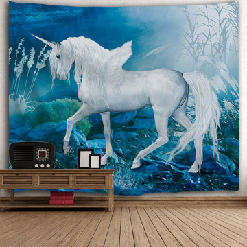 Unicorn White Wing Tapestry Animal Wall Hanging Dreamy Blue Tapestry for Livingroom Bedroom Home Dorm Decor