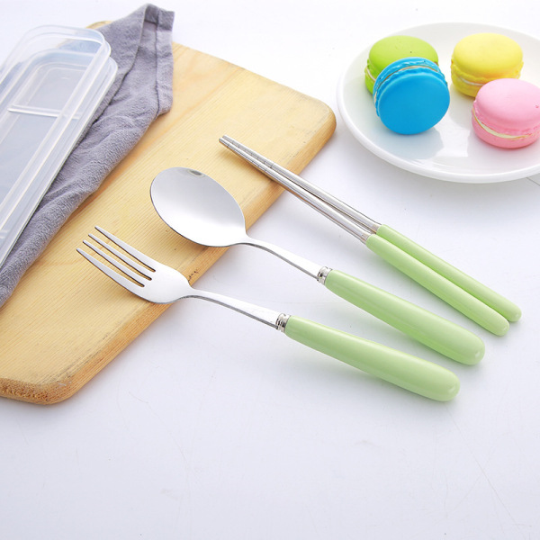 Outdoor Spoon Fork Chopsticks Ceramic Handle Cutlery Set