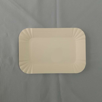 Rectangular Paper Plates Embossed Design White
