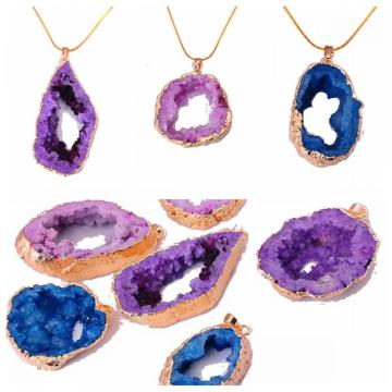 18K Golor Gemstone Crystal Druzy Pendant necklace