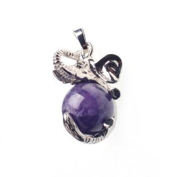 Amethyst Healing Reiki Elephant Pendant Fit Necklace