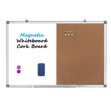 Half magnetic whiteboard and half cork board