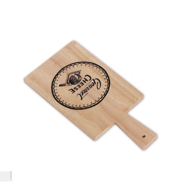 Rubber wood paddle cutting board with handle