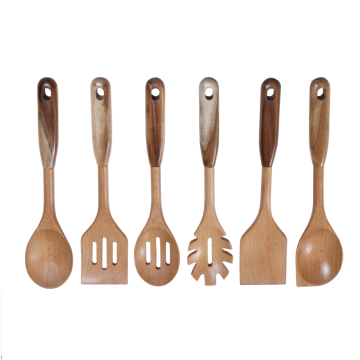 Beech wood spoon set with acacia handle