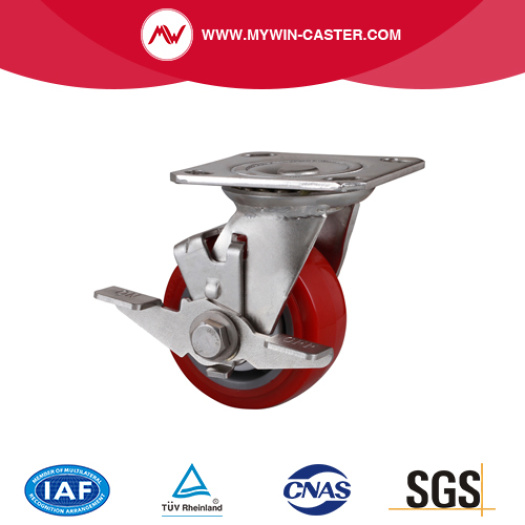 Stainless 5 Inch 250Kg Plate Brake TPU Caster