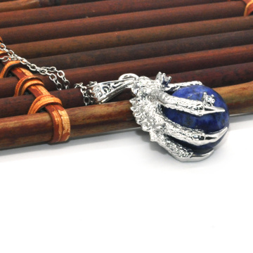 China Supplier Fashion Jewelry Lapis Lazuli Sphere Dragon Ball Claw Pendant
