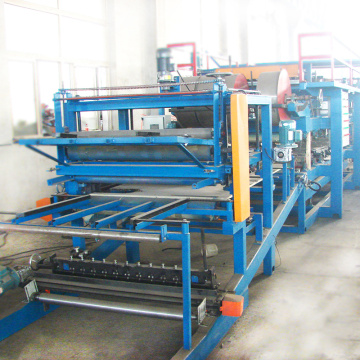 One year warranty 4 meter per minute color steel sandwich panel machine