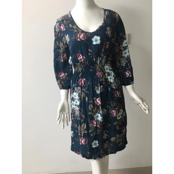 printed viscose dress in color blue