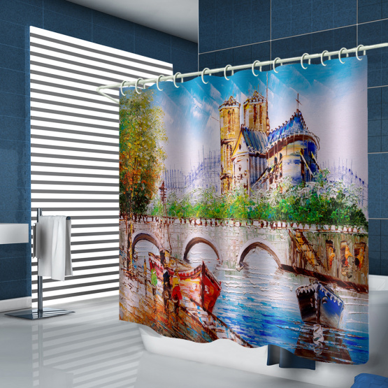Oil Painting Waterproof Shower Curtain European Style Bathroom Decor