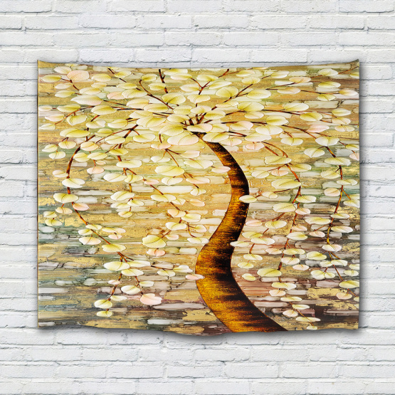 Yellow Ginkgo Tree Tapestry Oil Painting Wall Hanging Psychedelic Forest Tapestry for Livingroom Bedroom Home Dorm Decor