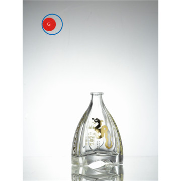 Special Shape Glass Bottle with Golden Decal Paper