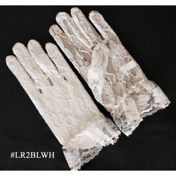 White Short Length Lace Glove for Wedding