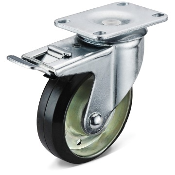 The Black Rubber Flat Bottom Double Brake Casters