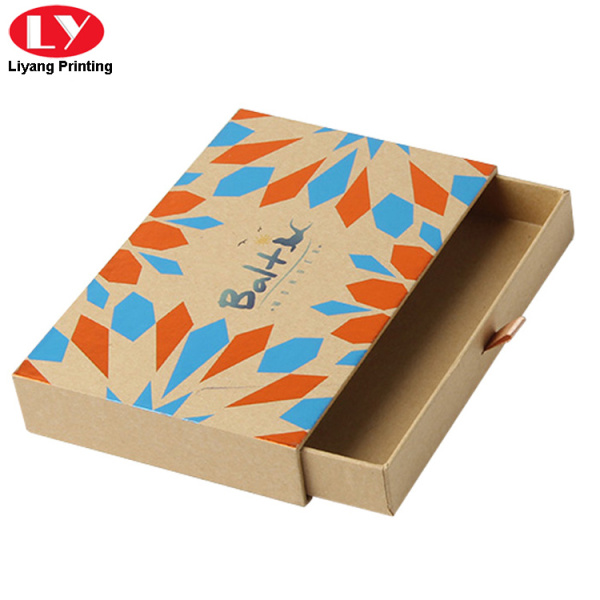 Brown Kraft cardboard gift drawer box with ribbon