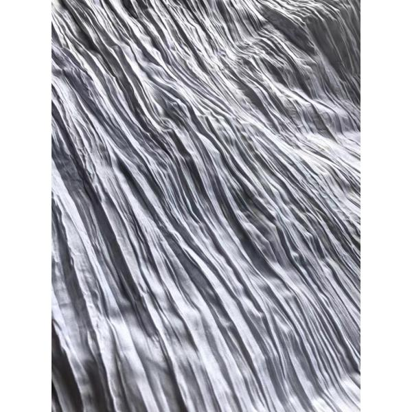 Polyester White Bleach Crimped Fabric