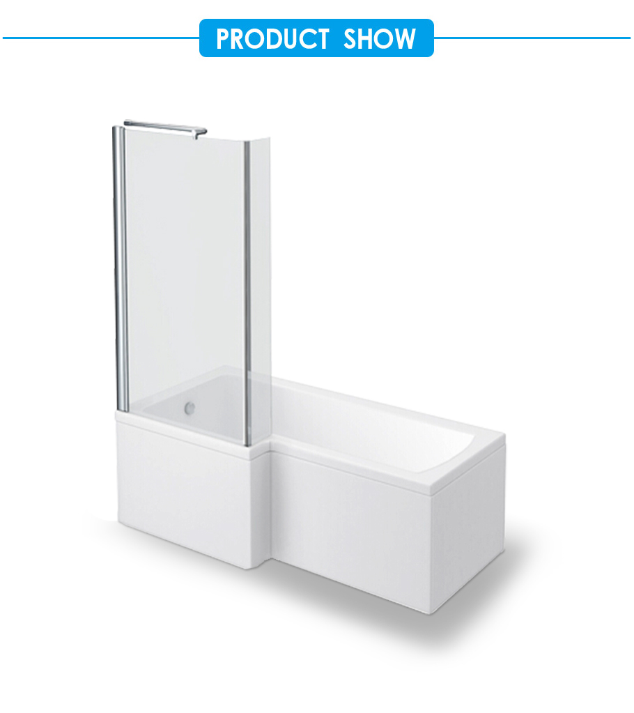 L Shaped Bath Tub with Bath Screen 1670mm