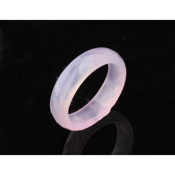 Natural 6MM Rose Agate Gemstone Faceted Women Rings