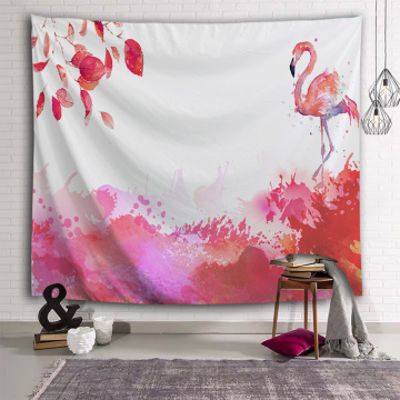 Pink Flamingo Tapestry Plants Leaf Wall Hanging Watercolor Tropical Garden Tapestry for Livingroom Bedroom Home Dorm Decor