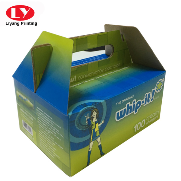 Colorful corrugated packing box with handle
