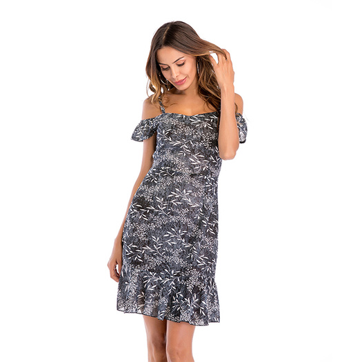Off-Shoulder Floral Printing sleeveless casual dress
