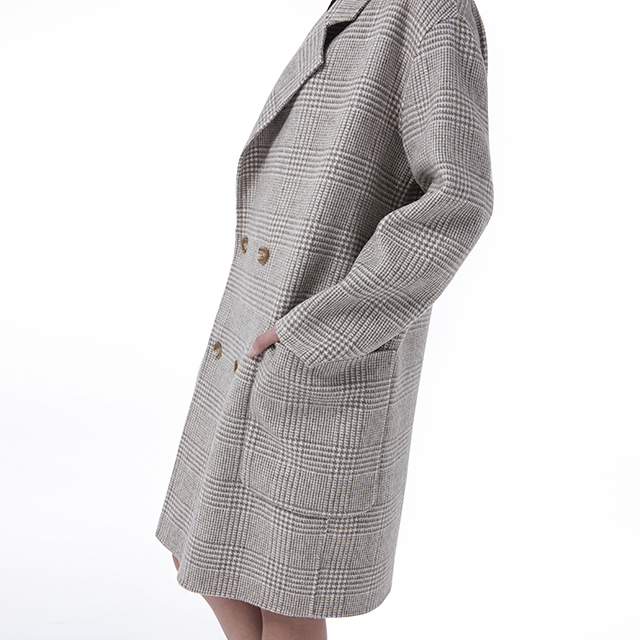Beige double-breasted cashmere overcoat upper body