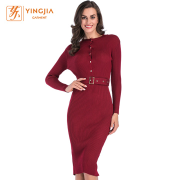 Women Knitted Dresses with Belt and Metal Buttons