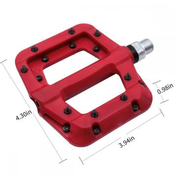Bicycle Pedals Flat Nylon Platform 9/16 Inch Red