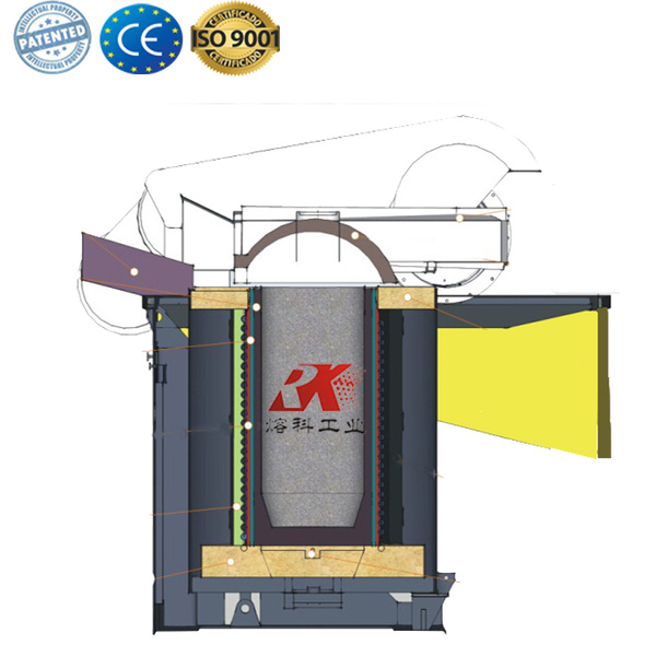 Electric cast iron foundry crucible furnace