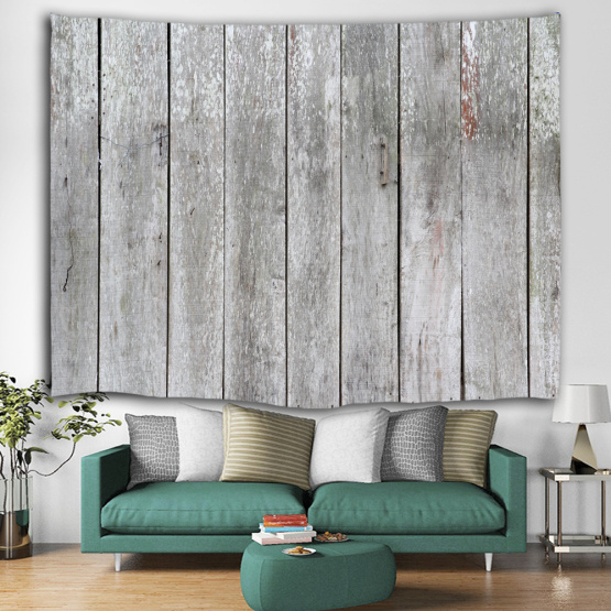Vintage Grey Planks Tapestry Wall Hanging Vertical Striped Wooden Board Wall Tapestry for Livingroom Bedroom Dorm Home Decor