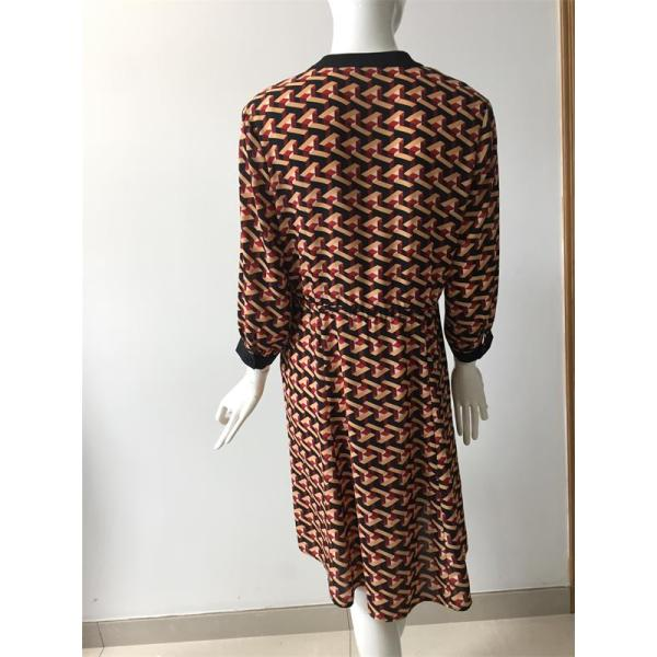 printed polyester CDC long sleeve dress