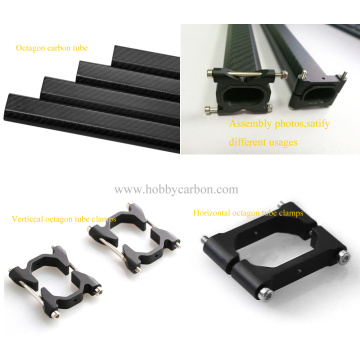 Vertical CNC Aluminum Clamps for Octagon Carbon Tubes